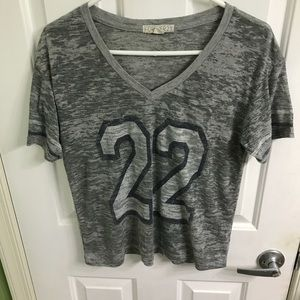 """Gray burn out short sleeve v-neck with """"22"""" on it"""